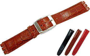 【カーフ型押し】カーフにクロコダイルの型押しを施した、スウォッチ専用時計ベルトです。 ※時計ベルトの厚みは、剣先に向かうほど薄くなります。